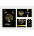 Gold christmas card and label design template set vector image vector image