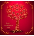 Gold valentines day tree forged with hearts vector image vector image