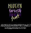 grunge simple font modern dry brush ink letters vector image