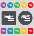 helicopter icon sign A set of 12 colored buttons vector image