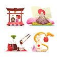 Japan Culture 4 retro Compositions Set vector image vector image