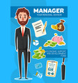 manager profession personal financial advisor vector image vector image