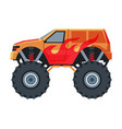 monster truck vehicle red jeep car with big vector image