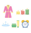 multicolored burning candles a pink robe with a vector image vector image