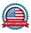 north carolina and usa flag badge vector image