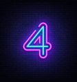 number four symbol neon sign number four vector image