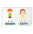 Opposite adjectives with left and right vector image vector image