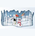 paper art style snowman at village in vector image vector image