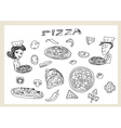 Pizza and vegetables doodle set