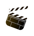 plastic or wood cinema clapperboard white black vector image