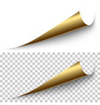 realistic golden foil corner with shadow vector image vector image