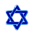 sacred symbol star of david icon 3d blue rounded vector image