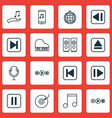 set of 16 music icons includes extract device vector image vector image