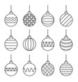 set of christmas balls icon line art vector image