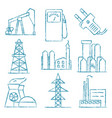 set of energy and electricity hand drawn icons vector image vector image