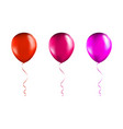 set red and pink balloons on transparent white vector image vector image