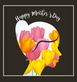 silhouette woman flowers background happy mothers vector image