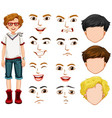 teenage boy and different facial expressions vector image vector image