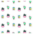 tiny cactus and succulent seamless pattern vector image