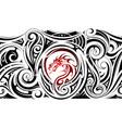 tribal art sleeve tattoo with dragon shape vector image vector image