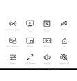 video player editable line icons vector image
