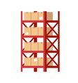 warehouse shelves with boxes red metal rack vector image vector image