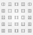 window outline icons set open windows vector image