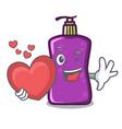 with heart shampo mascot cartoon style vector image vector image