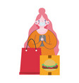 woman with smartphone order food menu restaurant vector image