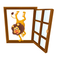 a lion in the window vector image
