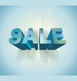 3dblue polygonal sale sign vector image vector image