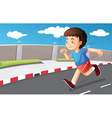 A young boy running at the street vector image vector image