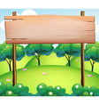 An empty wooden board at the top of the hills vector image vector image