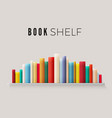 bookshelf lined with books in retro color vector image
