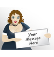 Brown hair XL size model holding board for your vector image