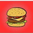 Burger comic book style pop art vector image vector image