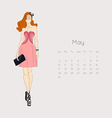 Calendar with fashion girl 2015 vector image vector image