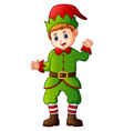 cartoon christmas elf waving vector image vector image
