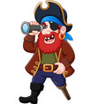 cartoon pirate looking through binoculars vector image vector image