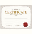 certificate or diploma template design with seal vector image