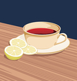 cup tea and slices lemon is on saucer vector image