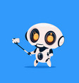 cute robot take selfie photo isolated icon on blue vector image vector image