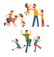 dads playing with children set fathers sons and vector image vector image