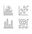 diagrams linear icons set histogram bar graph vector image