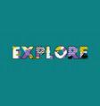 explore concept word art vector image vector image