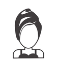 face of woman with towel and cosmetic mask icon vector image