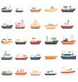 fishing boat icons set cartoon style vector image vector image