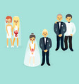 flat wedding characters icons set vector image vector image