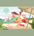 flat young man with surfboard and girl couple vector image vector image