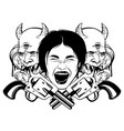 hand drawn highly detailed screaming head vector image vector image